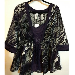 Purple Animal Print Top 2pc 18/20